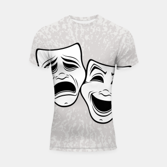Thumbnail image of Comedy And Tragedy Theater Masks Black Line Shortsleeve rashguard, Live Heroes