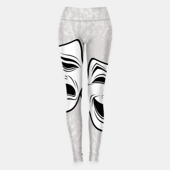 Thumbnail image of Comedy And Tragedy Theater Masks Black Line Leggings, Live Heroes