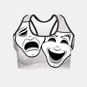 Comedy And Tragedy Theater Masks Black Line Crop Top thumbnail image