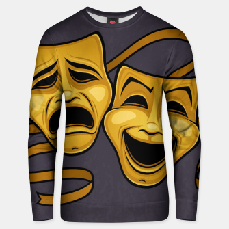 Gold Comedy And Tragedy Theater Masks Unisex sweater Bild der Miniatur