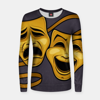 Gold Comedy And Tragedy Theater Masks Women sweater Bild der Miniatur