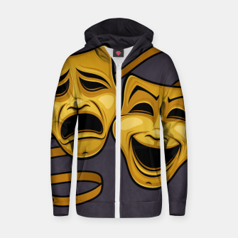 Gold Comedy And Tragedy Theater Masks Zip up hoodie Bild der Miniatur