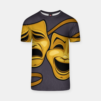 Gold Comedy And Tragedy Theater Masks T-shirt Bild der Miniatur