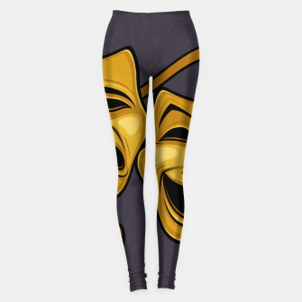 Gold Comedy And Tragedy Theater Masks Leggings Bild der Miniatur
