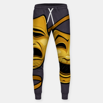 Thumbnail image of Gold Comedy And Tragedy Theater Masks Sweatpants, Live Heroes