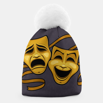 Gold Comedy And Tragedy Theater Masks Beanie Bild der Miniatur