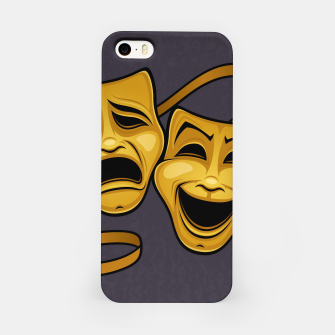 Gold Comedy And Tragedy Theater Masks iPhone Case Bild der Miniatur