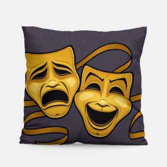 Thumbnail image of Gold Comedy And Tragedy Theater Masks Pillow, Live Heroes