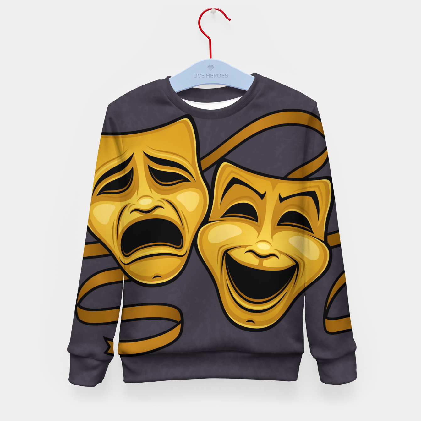 Foto Gold Comedy And Tragedy Theater Masks Kid's sweater - Live Heroes