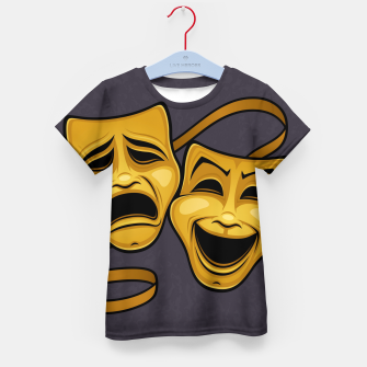 Gold Comedy And Tragedy Theater Masks Kid's t-shirt Bild der Miniatur