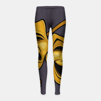 Thumbnail image of Gold Comedy And Tragedy Theater Masks Girl's leggings, Live Heroes