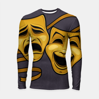 Thumbnail image of Gold Comedy And Tragedy Theater Masks Longsleeve rashguard , Live Heroes