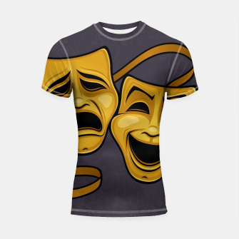 Thumbnail image of Gold Comedy And Tragedy Theater Masks Shortsleeve rashguard, Live Heroes
