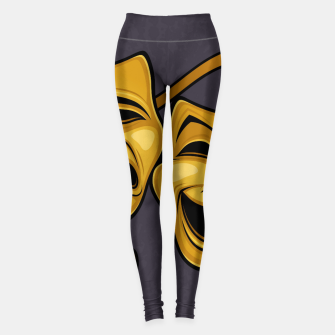 Thumbnail image of Gold Comedy And Tragedy Theater Masks Leggings, Live Heroes