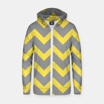 Chevron ultimate grey illuminating yellow pattern Zip up hoodie thumbnail image