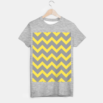 Miniatur Chevron ultimate grey illuminating yellow pattern T-shirt regular, Live Heroes