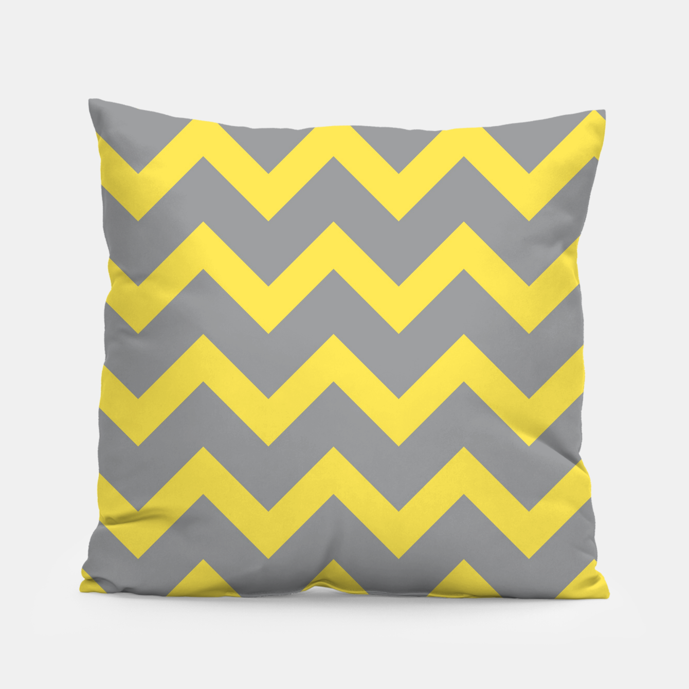 Image of Chevron ultimate grey illuminating yellow pattern Pillow - Live Heroes