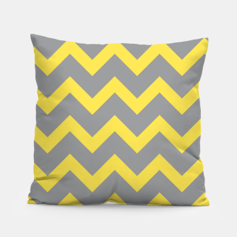Miniatur Chevron ultimate grey illuminating yellow pattern Pillow, Live Heroes