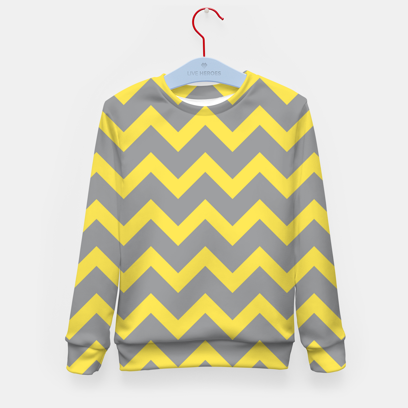 Image of Chevron ultimate grey illuminating yellow pattern Kid's sweater - Live Heroes
