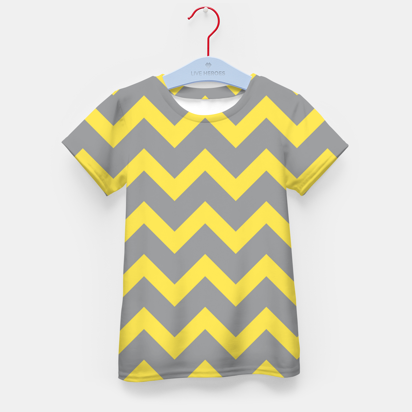 Image of Chevron ultimate grey illuminating yellow pattern Kid's t-shirt - Live Heroes