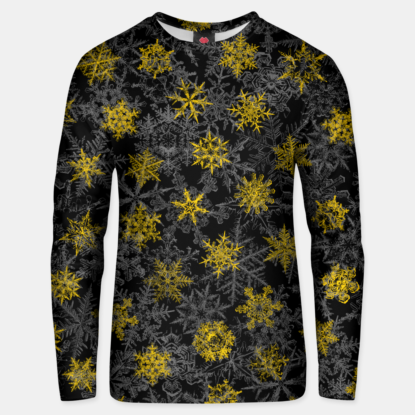 Image of Snowflake Winter Queen Ornate Snow Crystals Pattern Black Unisex sweater - Live Heroes