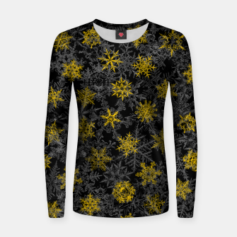 Snowflake Winter Queen Ornate Snow Crystals Pattern Black Women sweater thumbnail image