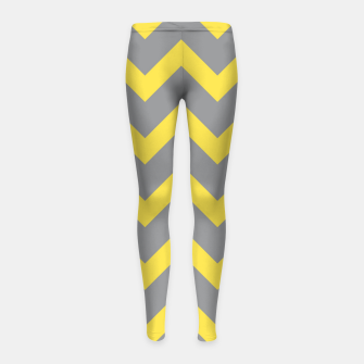 Miniatur Chevron ultimate grey illuminating yellow pattern Girl's leggings, Live Heroes