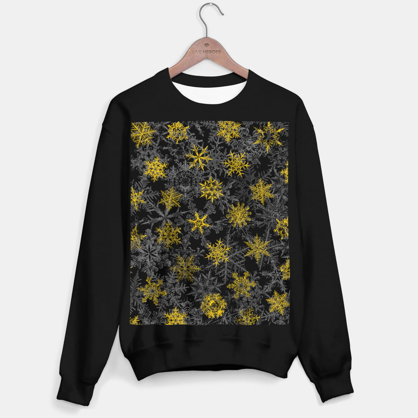 Image of Snowflake Winter Queen Ornate Snow Crystals Pattern Black Sweater regular - Live Heroes