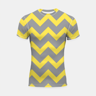 Thumbnail image of Chevron ultimate grey illuminating yellow pattern Shortsleeve rashguard, Live Heroes