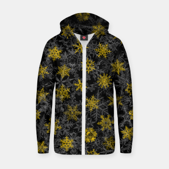 Snowflake Winter Queen Ornate Snow Crystals Pattern Black Zip up hoodie thumbnail image