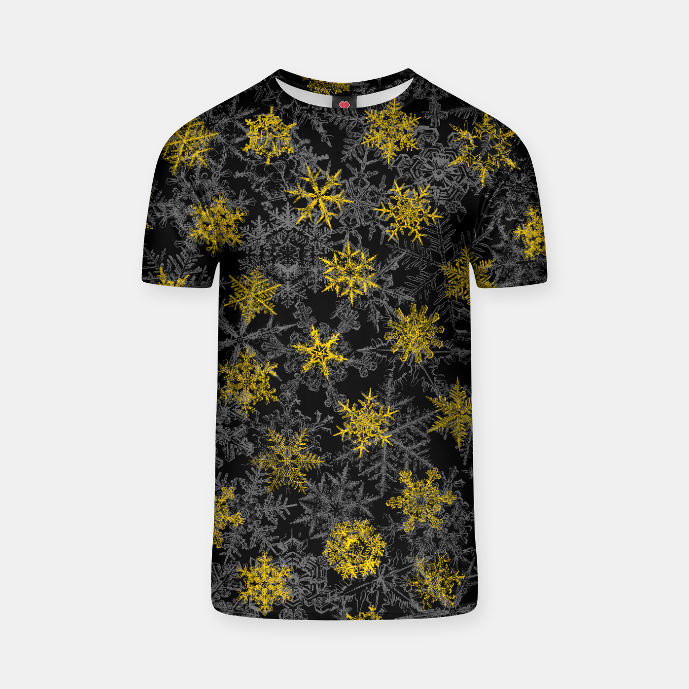Image of Snowflake Winter Queen Ornate Snow Crystals Pattern Black T-shirt - Live Heroes