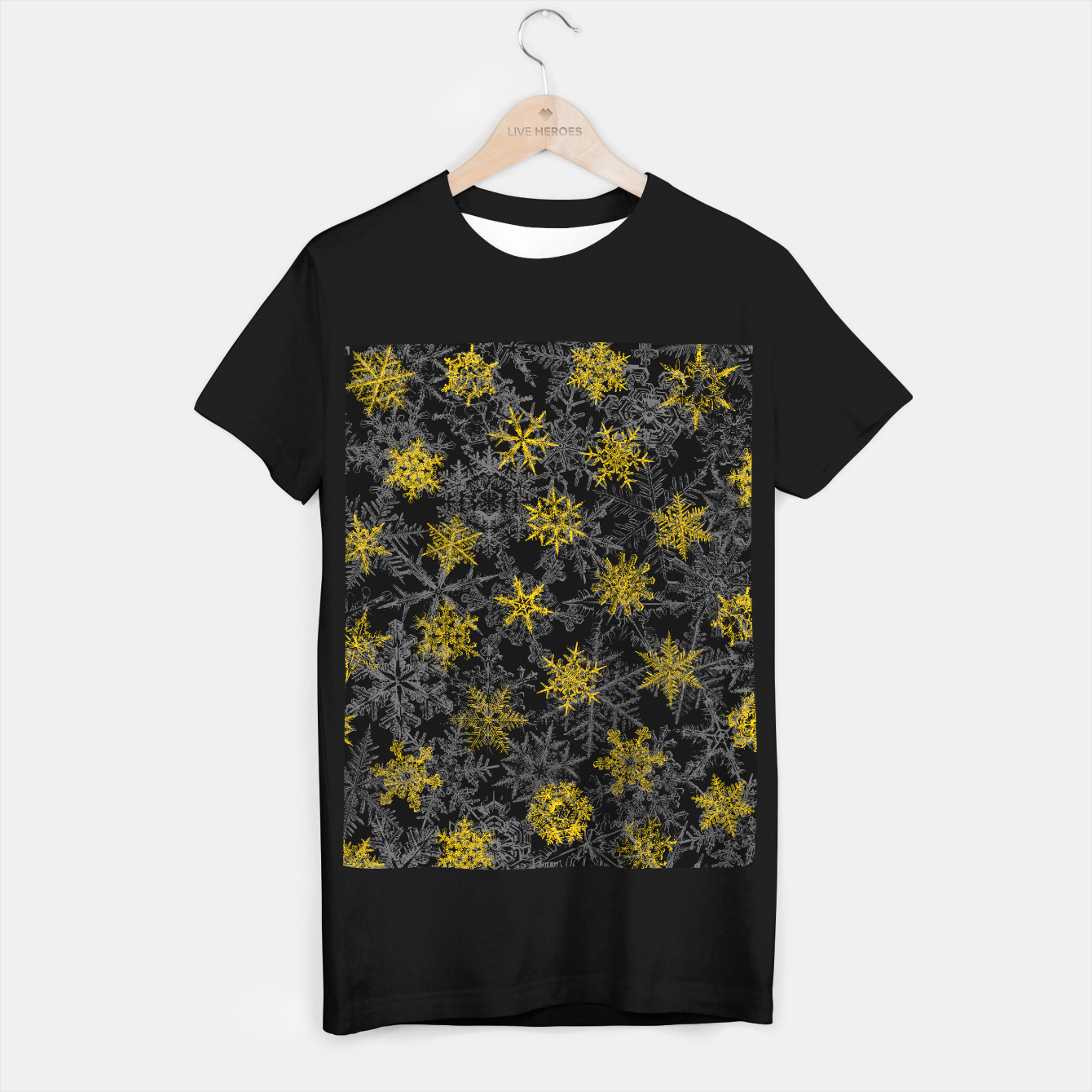 Image of Snowflake Winter Queen Ornate Snow Crystals Pattern Black T-shirt regular - Live Heroes