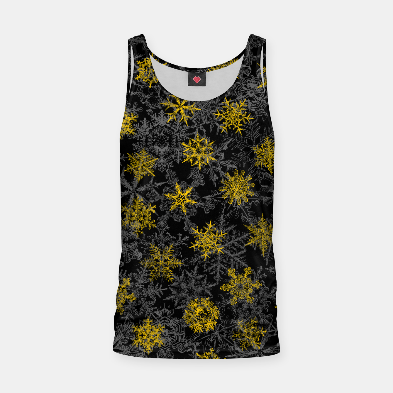Image of Snowflake Winter Queen Ornate Snow Crystals Pattern Black Tank Top - Live Heroes