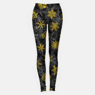 Thumbnail image of Snowflake Winter Queen Ornate Snow Crystals Pattern Black Leggings, Live Heroes