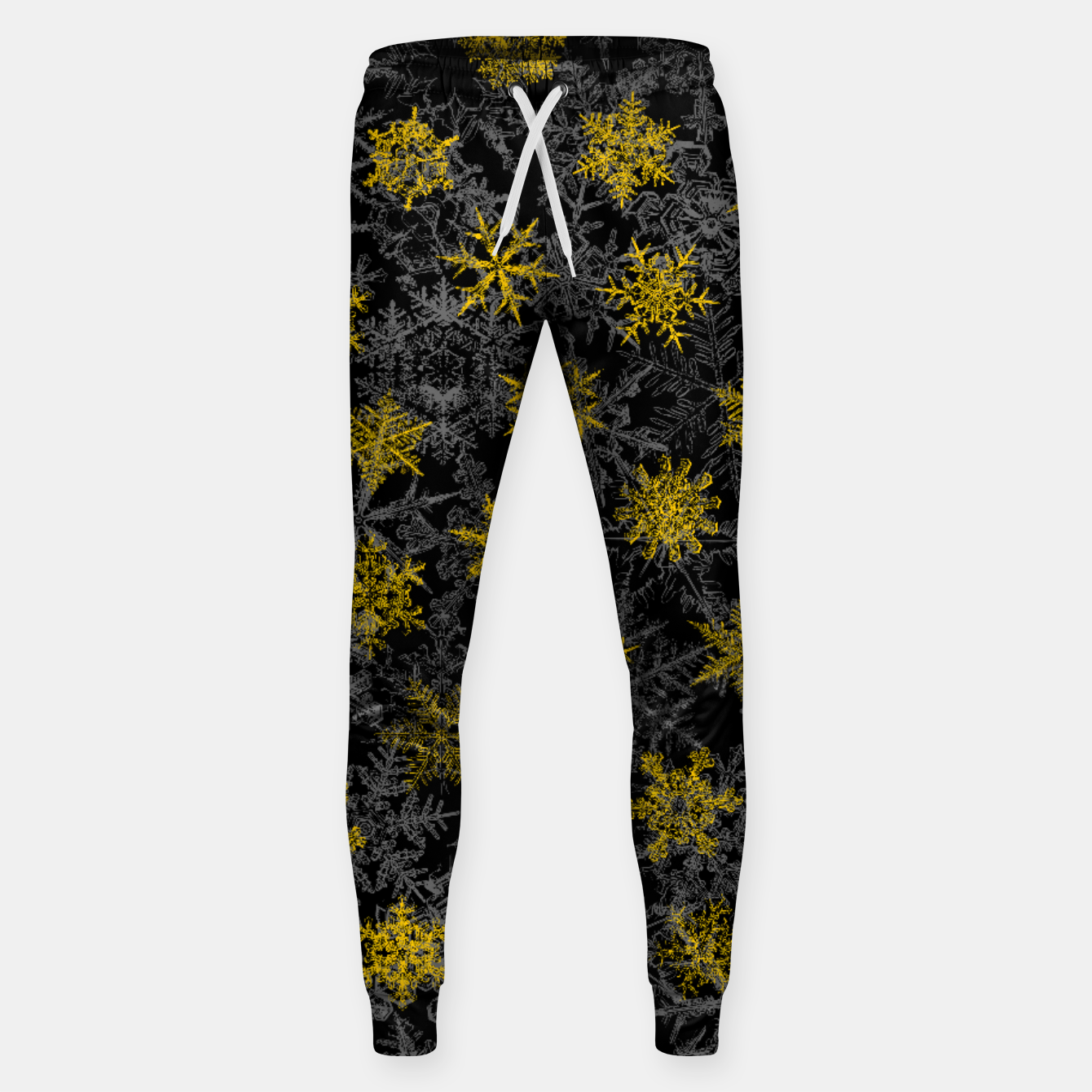 Image of Snowflake Winter Queen Ornate Snow Crystals Pattern Black Sweatpants - Live Heroes