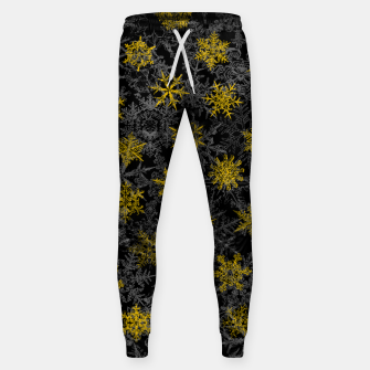 Miniatur Snowflake Winter Queen Ornate Snow Crystals Pattern Black Sweatpants, Live Heroes