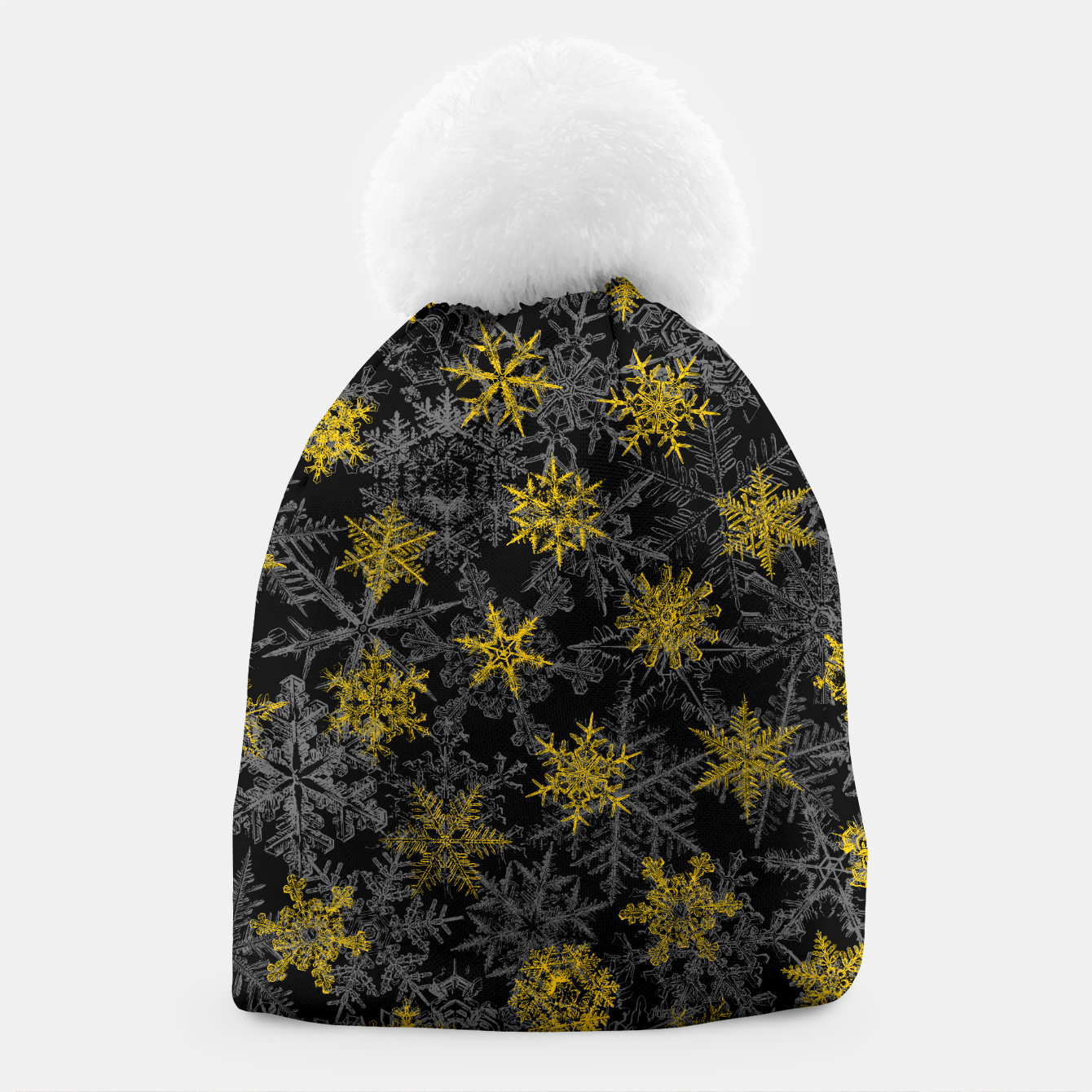 Image of Snowflake Winter Queen Ornate Snow Crystals Pattern Black Beanie - Live Heroes