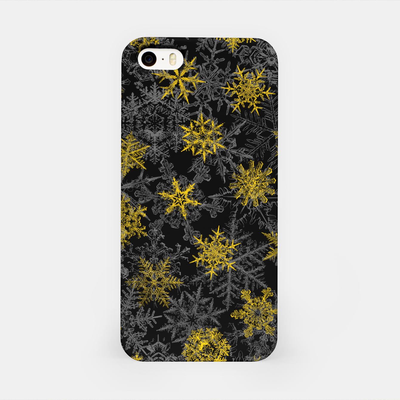 Image of Snowflake Winter Queen Ornate Snow Crystals Pattern Black iPhone Case - Live Heroes