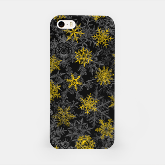 Snowflake Winter Queen Ornate Snow Crystals Pattern Black iPhone Case thumbnail image