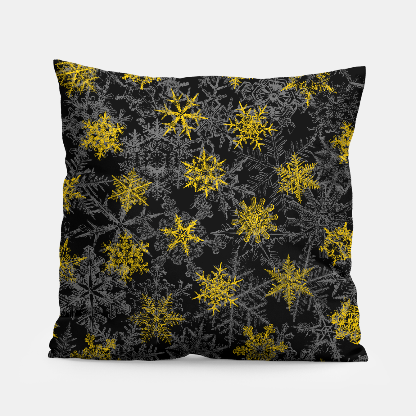Image of Snowflake Winter Queen Ornate Snow Crystals Pattern Black Pillow - Live Heroes
