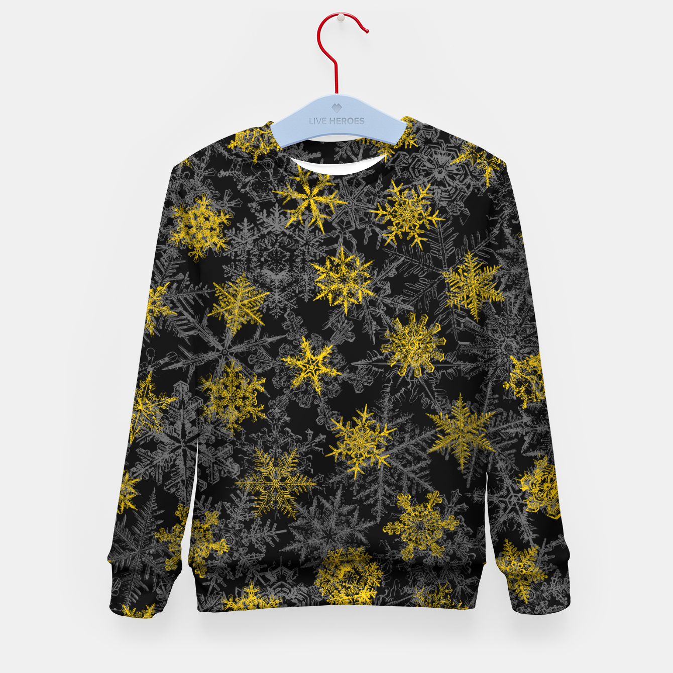 Image of Snowflake Winter Queen Ornate Snow Crystals Pattern Black Kid's sweater - Live Heroes
