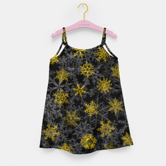 Miniatur Snowflake Winter Queen Ornate Snow Crystals Pattern Black Girl's dress, Live Heroes