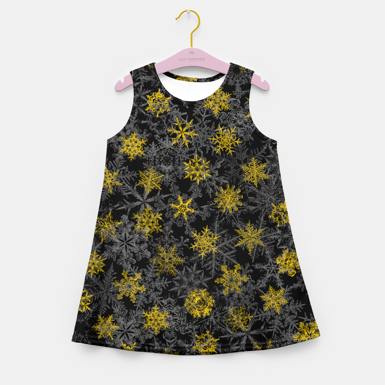 Image of Snowflake Winter Queen Ornate Snow Crystals Pattern Black Girl's summer dress - Live Heroes