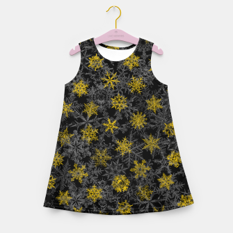 Thumbnail image of Snowflake Winter Queen Ornate Snow Crystals Pattern Black Girl's summer dress, Live Heroes
