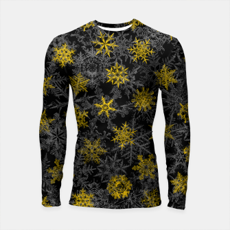 Thumbnail image of Snowflake Winter Queen Ornate Snow Crystals Pattern Black Longsleeve rashguard , Live Heroes