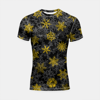 Thumbnail image of Snowflake Winter Queen Ornate Snow Crystals Pattern Black Shortsleeve rashguard, Live Heroes