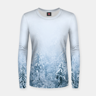 Thumbnail image of Snow covered beech spruce forest in fog Women sweater, Live Heroes