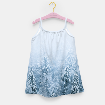 Miniaturka Snow covered beech spruce forest in fog Girl's dress, Live Heroes