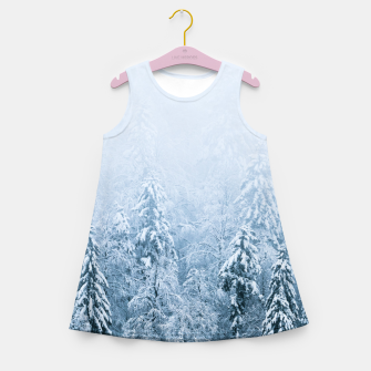 Thumbnail image of Snow covered beech spruce forest in fog Girl's summer dress, Live Heroes