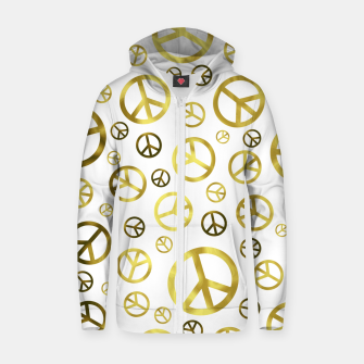 Thumbnail image of Peace Sign Golden Zip up hoodie, Live Heroes